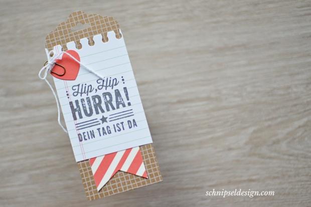 Stampin Up Kartenset Hip Hip Hurra Geschenk Anhänger Tag Geburtstag Schiefergrau schnipseldesign 02