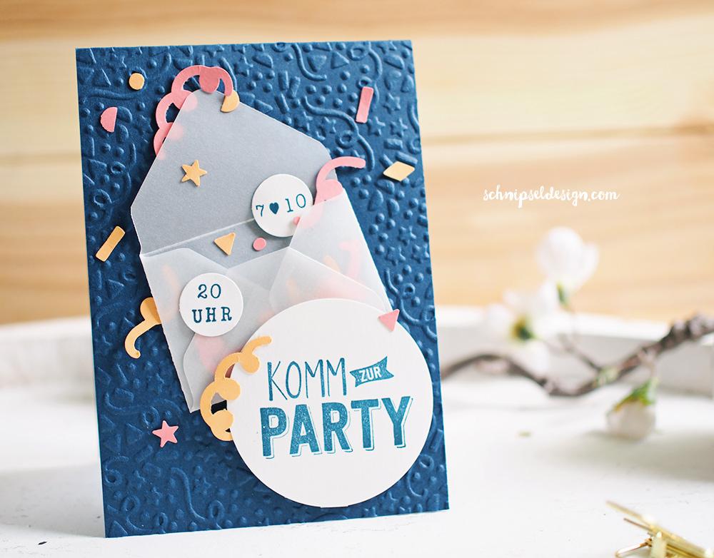 Stampin Up Party Geburtstag Einladung Konfetti Grusse Schnipseldesign